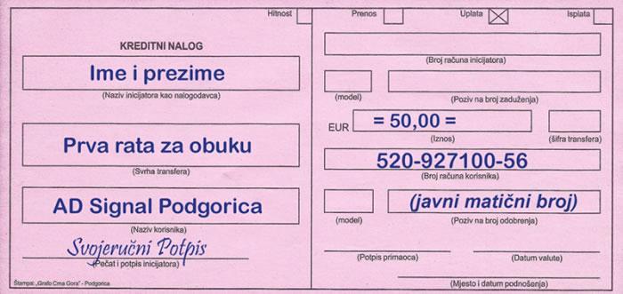 Uplatinica-Auto-škola-Signal